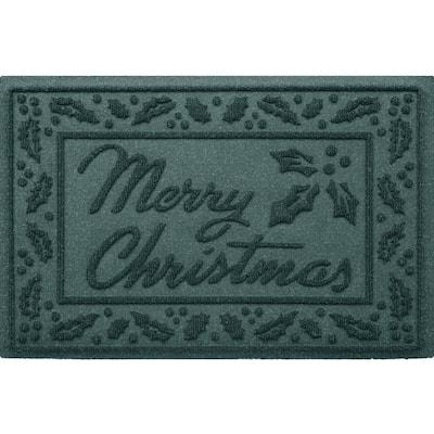 Aqua Shield Merry Christmas Evergreen 20 in. x 30 in. Recycled Indoor Outdoor Door Mat