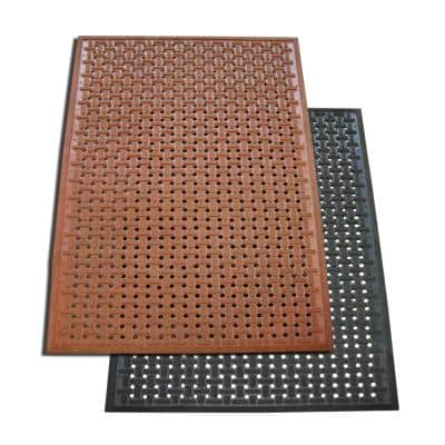 """""""Kitchen Mat"""" Anti-Slip Black 36 in. x 60 in. Rubber Grease Proof Kitchen Mat Commercial Floor Mat (Pack of 2)"""