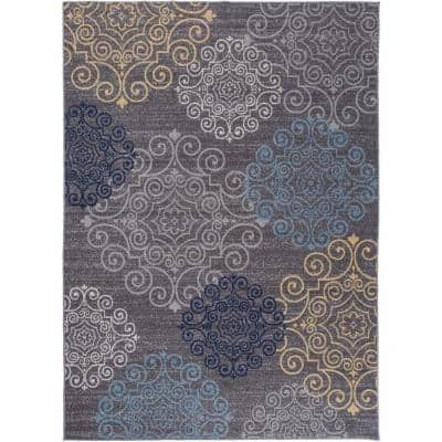 Contemporary Floral Non-Slip (Non-Skid) Gray 5 ft. 3 in. x 7 ft. 3 in. Indoor Area Rug