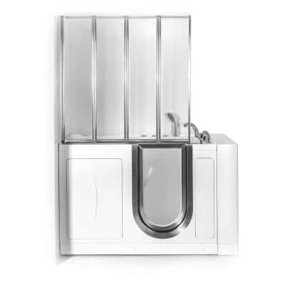 Elite 52 in. Walk-In Whirlpool and Air Bath Bathtub in White with RH Door, Thermostatic Faucet, Dual Drain,Shower Screen