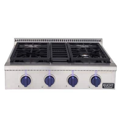 Professional 30 in. Natural Gas Range CookTop with Sealed Burners in Stainless Steel with Royal Blue Knobs
