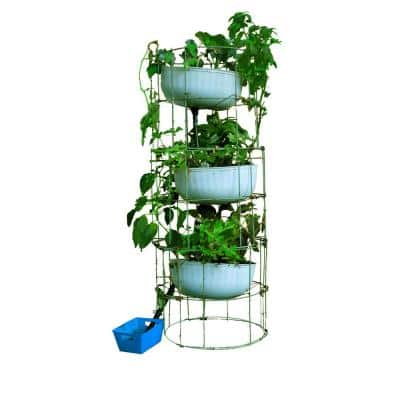 Culinary Herb Tower 12 in. x 55 in. Antique Green Steel Mesh Planter