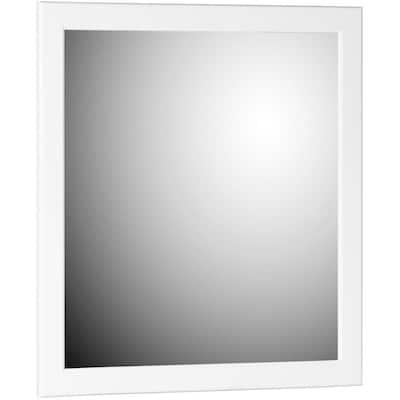 Ultraline 30 in. W x 32 in. H Framed Rectangular Bathroom Vanity Mirror in satin white