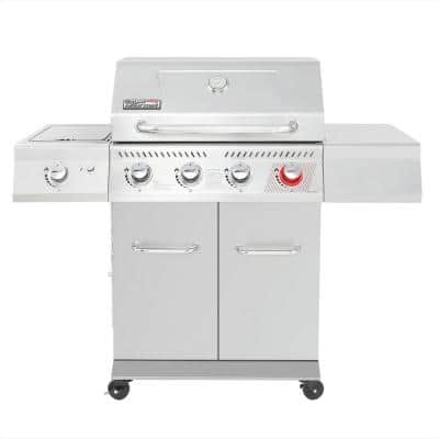 4-Burner Propane Gas Grill in Stainless Steel with Sear Burner and Side Burner