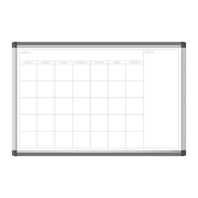 35 in. x 23 PINIT Magnetic Dry Erase Calendar Board, Silver Aluminum Frame