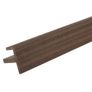 All Weather System 2.2 in. x 2.2 in. x 8 ft. Composite Siding End Trim in Spanish Walnut Board