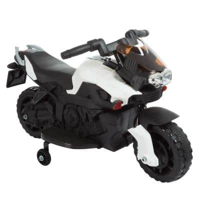 2-Wheel Battery Powered Ride on Toy Motorcycle with Training Wheels in White