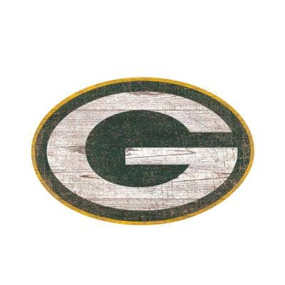 NFL Indoor Green Bay Packers Distressed Logo Cutout Wood Sign