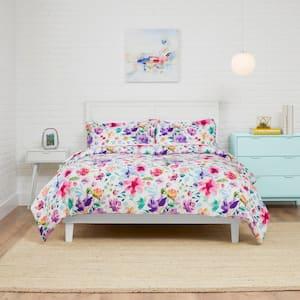 Emme 3-Piece Multi-Color Bright Floral Full/Queen Comforter Set