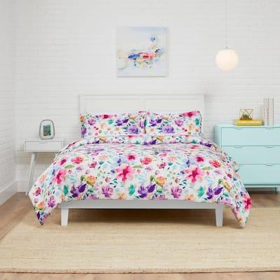 Emme 3-Piece Multi-Color Bright Floral King Comforter Set