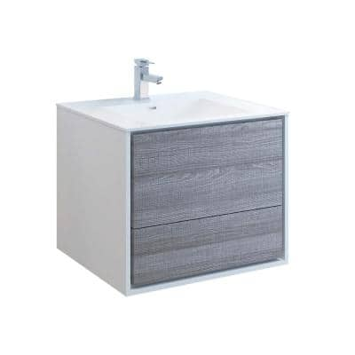 Catania 30 in. Modern Wall Hung Bath Vanity in Glossy Ash Gray with Vanity Top in White with White Basin