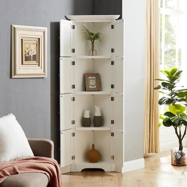 8 Door White Storage Corner Cabinet, Cabinets For Living Room