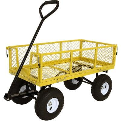 Yellow Heavy-Duty Steel Collapsible Log Cart