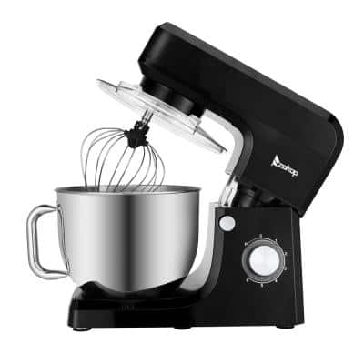 7.5 qt. 6-Speed Black Stainless Steel Stand Mixer with Dough Hook and Whisk