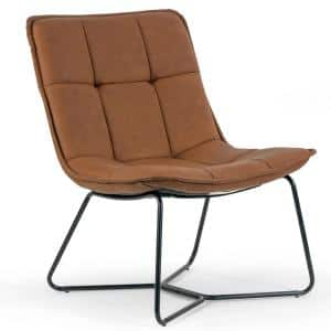 Aurele Light Brown Faux Leather Armless Accent Chair with Black Metal Legs
