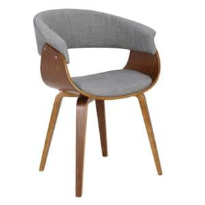 Vintage Mod Walnut and Light Grey Dining/Accent Chair