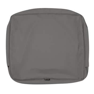 Montlake FadeSafe 21 in. W x 22 in. H x 4 in. D Patio Lounge Back Cushion Slip Cover in Light Charcoal Grey