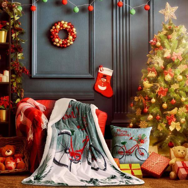 Sara B Christmas Bike Blue Plush Polyester 20 In X 20 In Throw Pillow Sb312mu20 The Home Depot