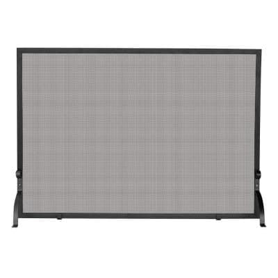 Olde World Iron 39 in. W Single-Panel Fireplace Screen with Steel Construction and Heavy Mesh
