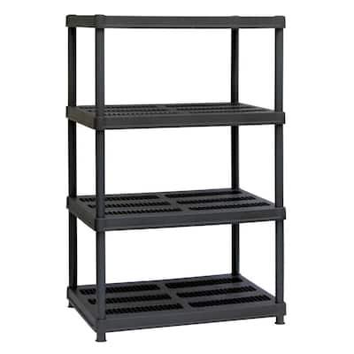Black 4-Tier Plastic Garage Storage Shelving Unit (36 in. W x 56 in. H x 24 in. D)