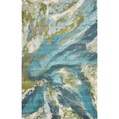 Watercolors Teal 8 ft. x 10 ft. Abstract Area Rug