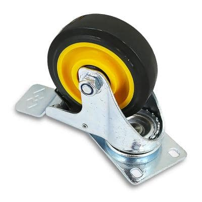 4 in. Yellow Swivel Caster Wheels Double Brake and Polyurethane Wheels - 220 lbs.