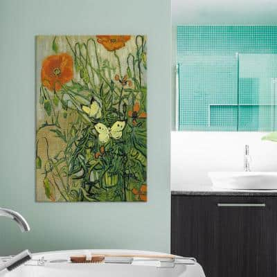 26 in. x 18 in. Butterflies and Poppies Canvas Wall Print