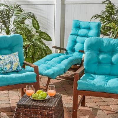 Solid Teal Outdoor Chaise Lounge Cushion