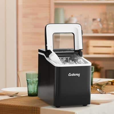 9 in. W 26 lbs./24-Hour Countertop Portable Ice Maker Self-cleaning wit-Hour Scoop in Black