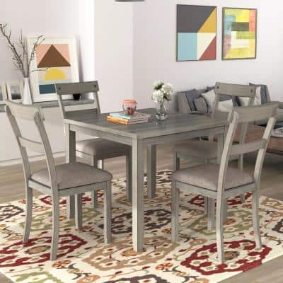 Light Gray 5-Piece Industrial Wooden Dining Sets