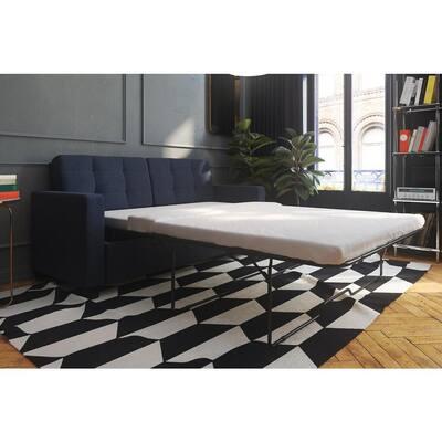 Donna 74.5 in. Blue Linen 3-Seat Queen Size Sleeper Sofa with Memoir Memory Foam Mattress