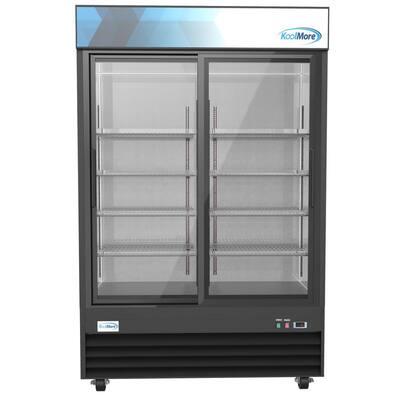 53 in. 45 cu. ft. Commercial Refrigerator Merchandiser 2 Glass Door in Black Stainless Steel
