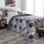 Patriotic Blue Striped and Plaid King Quilt