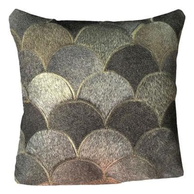 Gray Shells 16 x 16 in. Brazilian Genuine Leather Real Double Sided Cowhide Pillow
