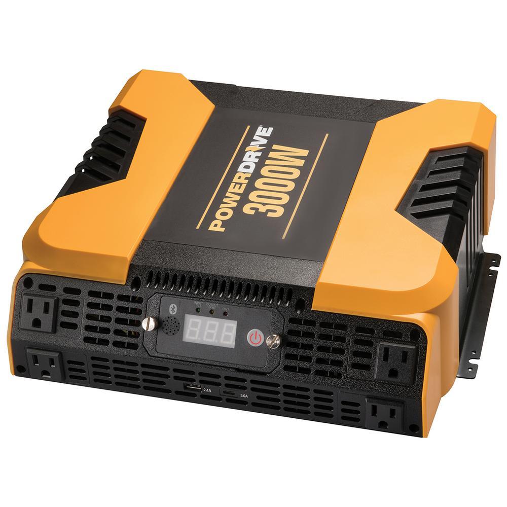 3000-Watt Power Inverter with 4 AC, Dual port - Standard USB 2.4 Amp and USB-C 3.0 Amp port, APP with Bluetooth