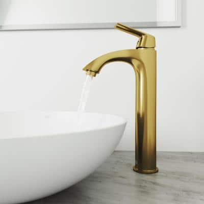 Linus Single-Handle Vessel Sink Faucet in Matte Gold