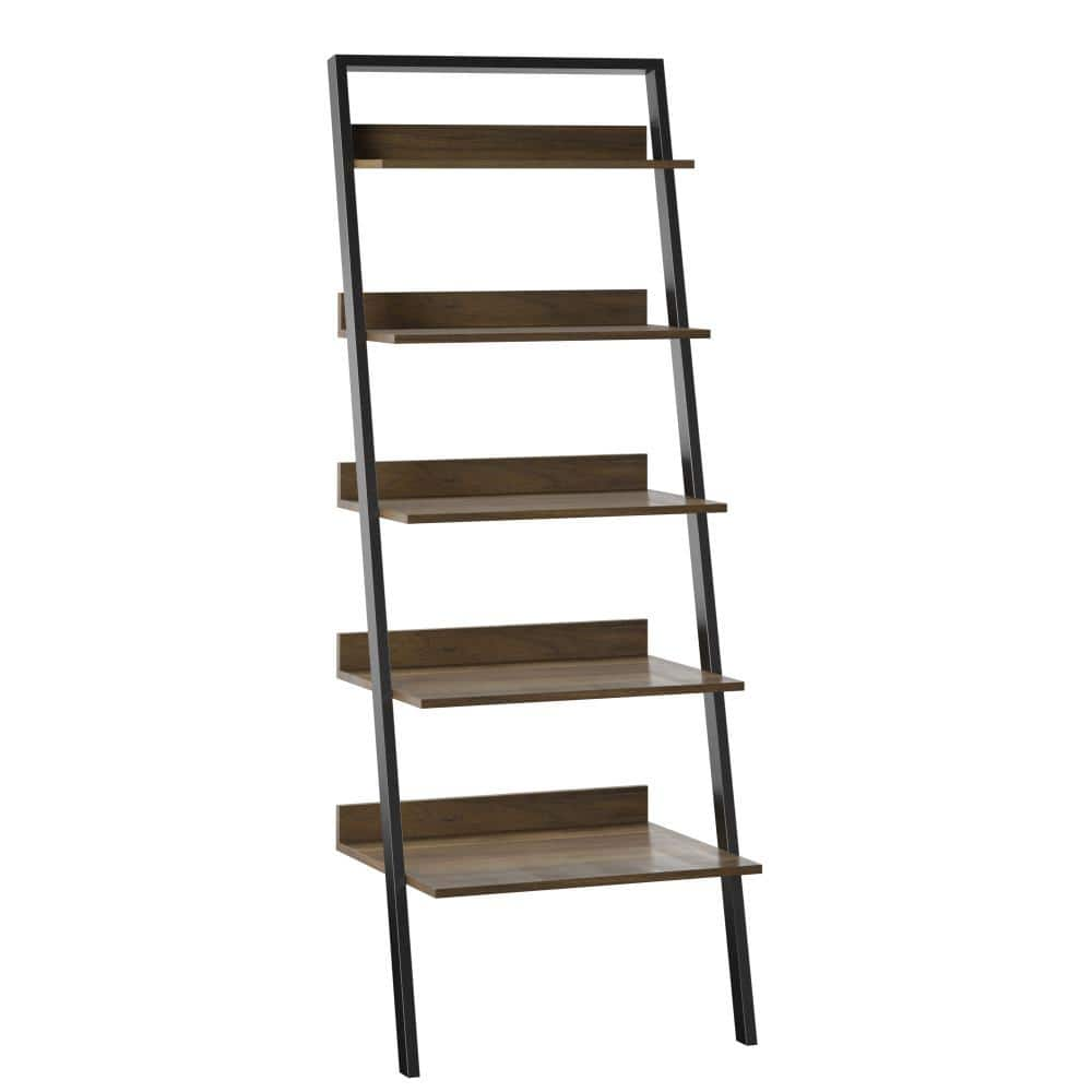 Twin Star Home 80 In Plainview Walnut Wood 5 Shelf Leaning Bookcase Open Back Bk490 Tpw31 The Home Depot