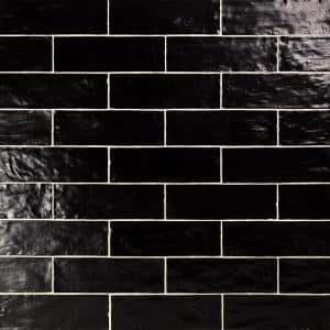 Amagansett Black 2 in. x 8 in. x 9 mm Satin Ceramic Wall Tile (5.38 sq. ft. / Box)