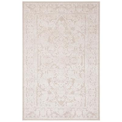Reflection Cream/Ivory 5 ft. x 8 ft. Border Floral Area Rug