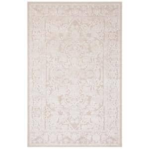 Reflection Cream/Ivory 6 ft. x 9 ft. Border Floral Area Rug
