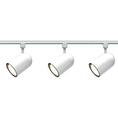 3-Light R30 White Bullet Cylinder Track Lighting Kit