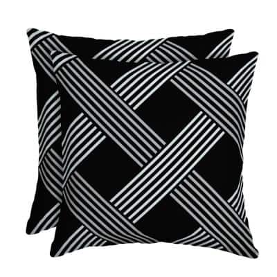 Black Lattice Square Outdoor Throw Pillow (2-Pack)