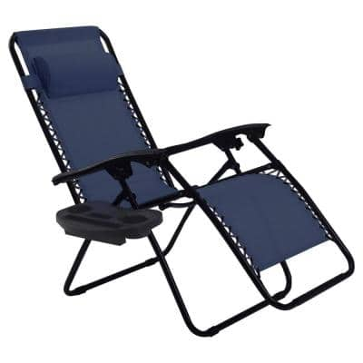 Navy Folding Zero Gravity Reclining Metal Outdoor Lounge Chair
