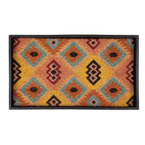 24.5 in. x 14 in. x 1.5 in. Natural & Recycled Rubber Boot Tray with Tan & Multi Coir Insert