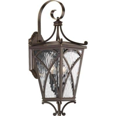 Cadence Collection 2-Light Oil Rubbed Bronze Clear Water Seeded Glass Luxe Outdoor Medium Wall Lantern Light