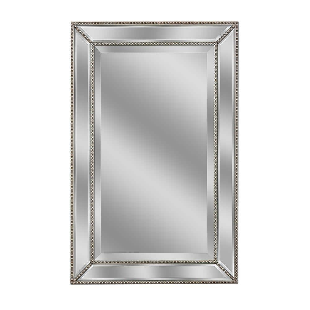 Deco Mirror 24 In W X 36 In H Framed Rectangular Beveled Edge Bathroom Vanity Mirror In Champagne Silver 1228 The Home Depot