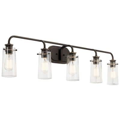 Braelyn 5-Light Olde Bronze Vanity Light with Clear Seedy Glass