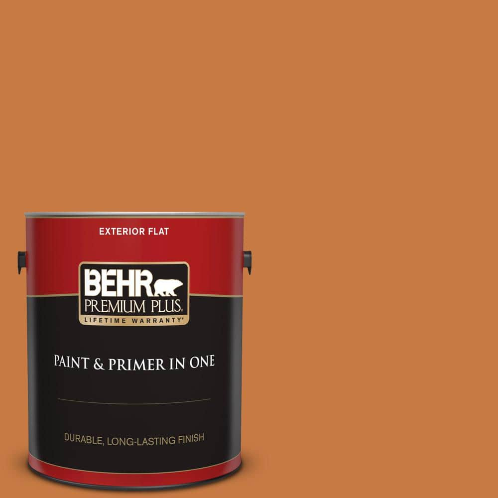 Behr Premium Plus 1 Gal M230 7 Rumba Orange Flat Exterior Paint And Primer In One 430001 The Home Depot