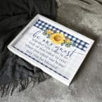 Be Our Guest Decorative Grey Check Wood Tray