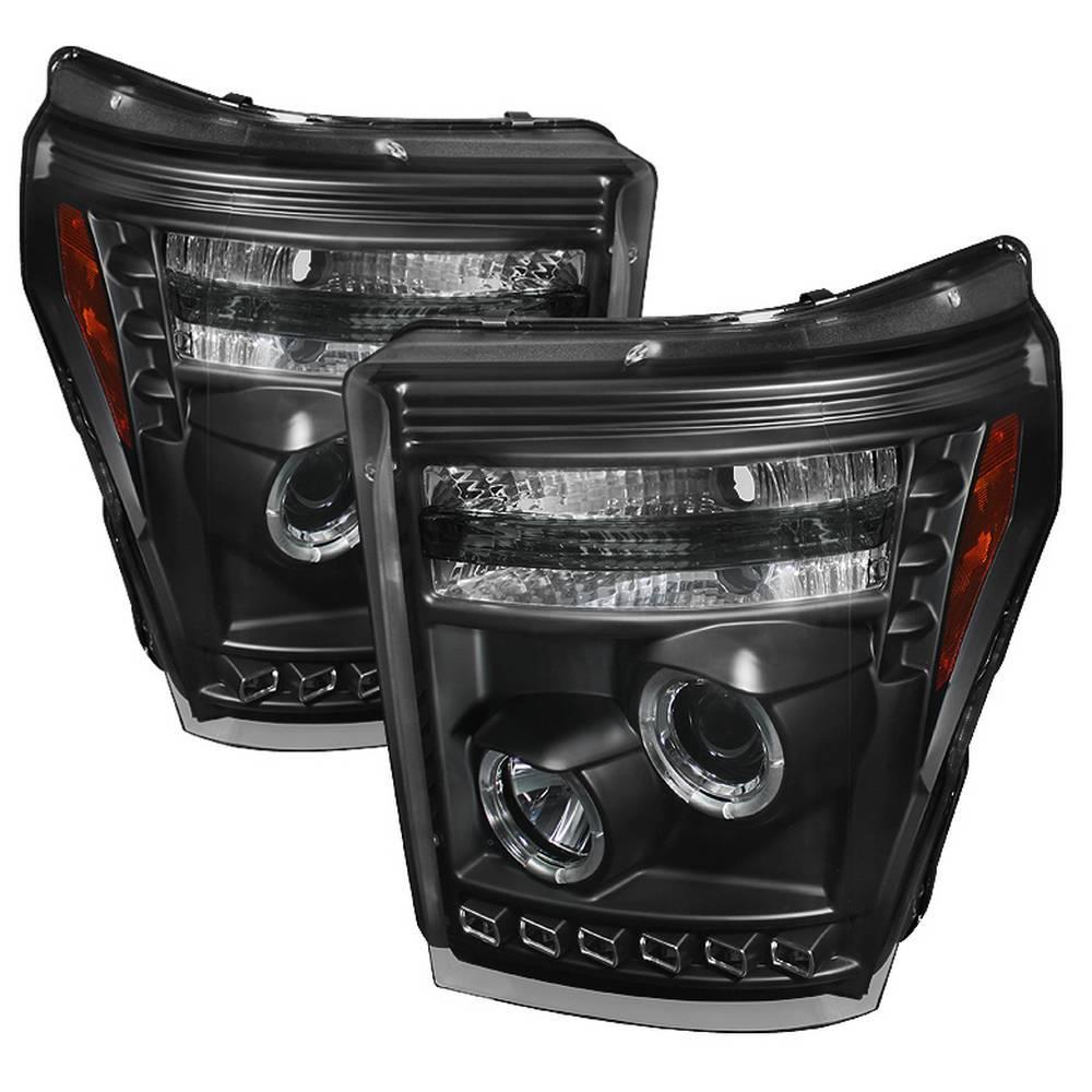 Ford F-250/F-350/F450 Super Duty 11-16 Projector Headlights - LED Halo - DRL - Black